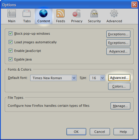 Firefox Content Preferences