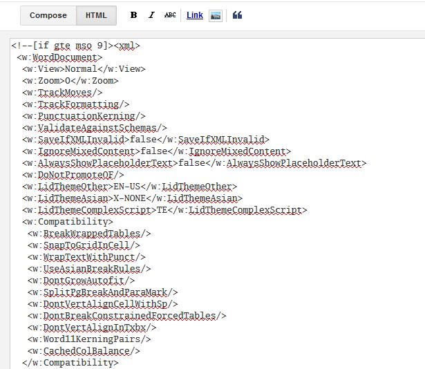 వర్డ్ నుండి కాపీ చేసిన పాఠ్యంలో అనవరమైన ట్యాగులు - బ్లాగర్ HTML తీరు